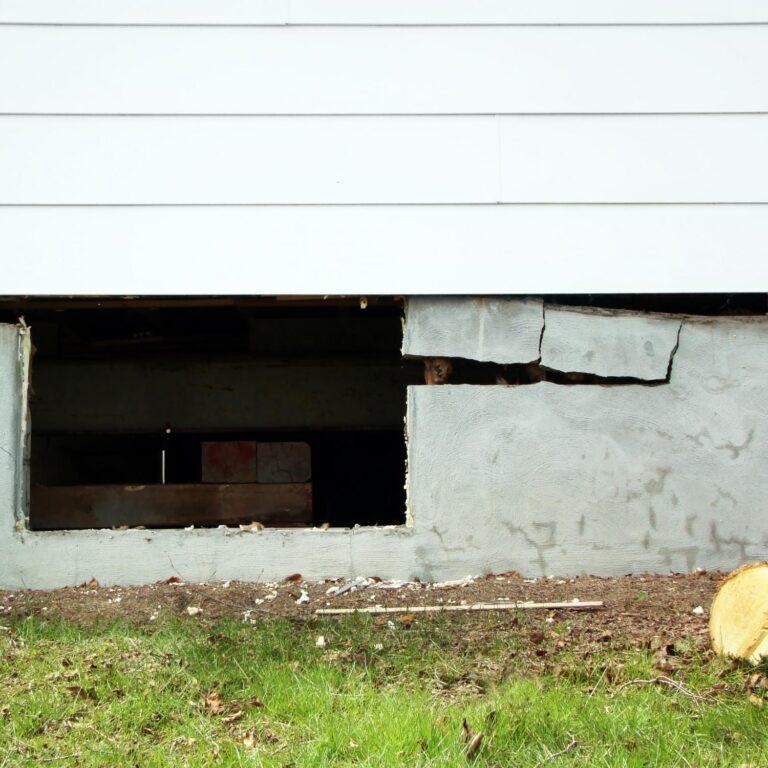 an open concrete foundation