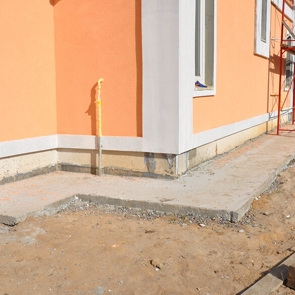 Insulation with waterproof membrane insulation stucco for house foundation construction.