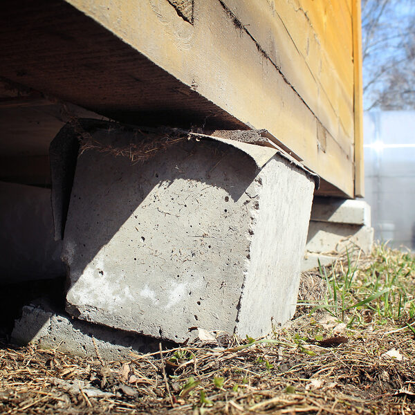 broken concrete country house